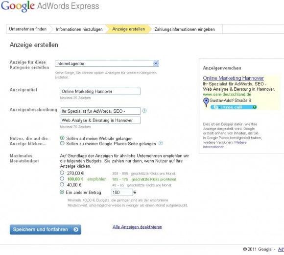 AdWords Express Schritt 1