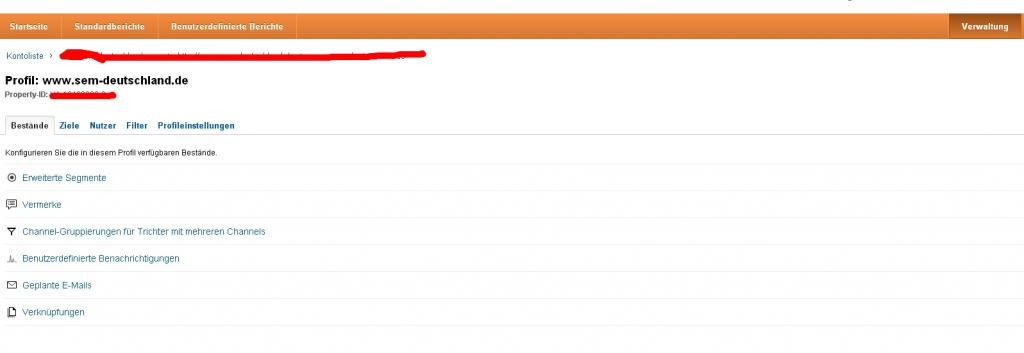 Anlage eines Nutzers bei Google Analytics