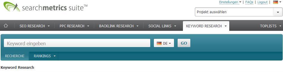 Keyword-Research Tool von Searchmetrics