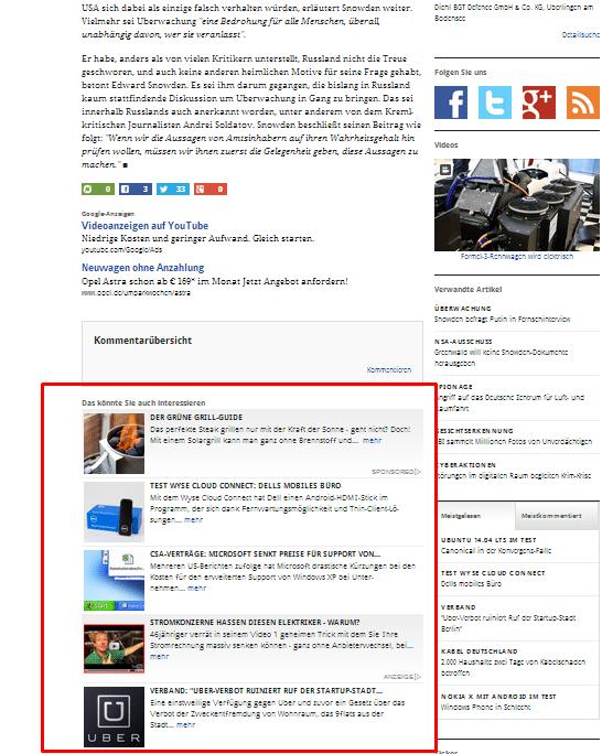 Plista Anzeigen bei golem.de