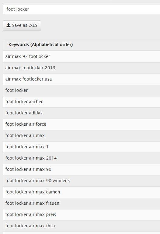 Suggest Daten zu Foot Locker