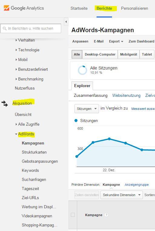 AdWords -Daten in Analytics aufrufen