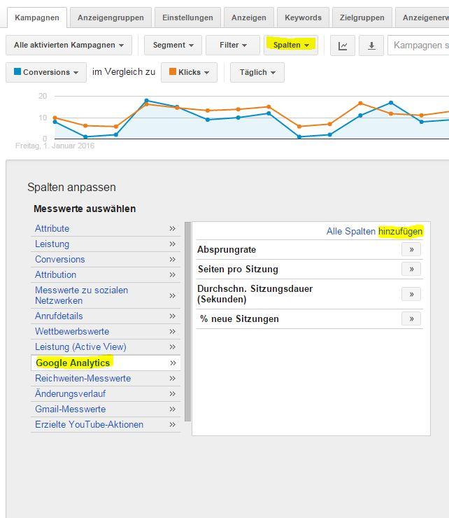 Spalten aus Analytics in AdWords hinzufügen