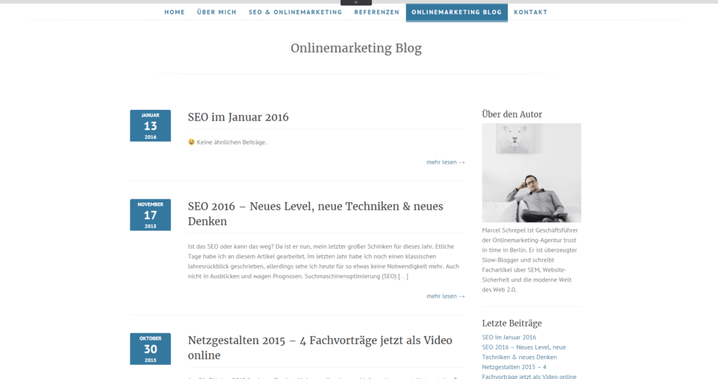 Screenshot Marcel Schrepel Onlinemarketing Blog