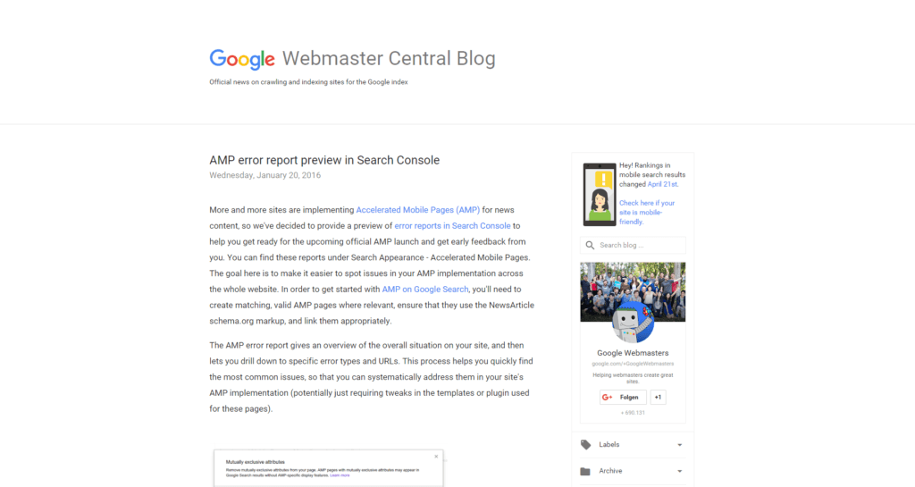 Screenshot Google Webmaster Central Blog