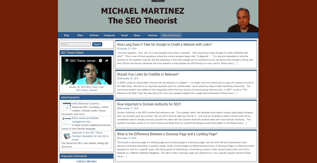 Screenshot Michael Martinez The SEO Theorist Blog