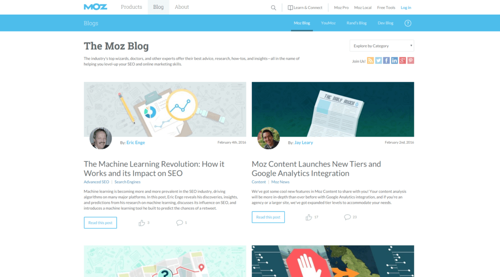 Screenshot The MOZ Blog