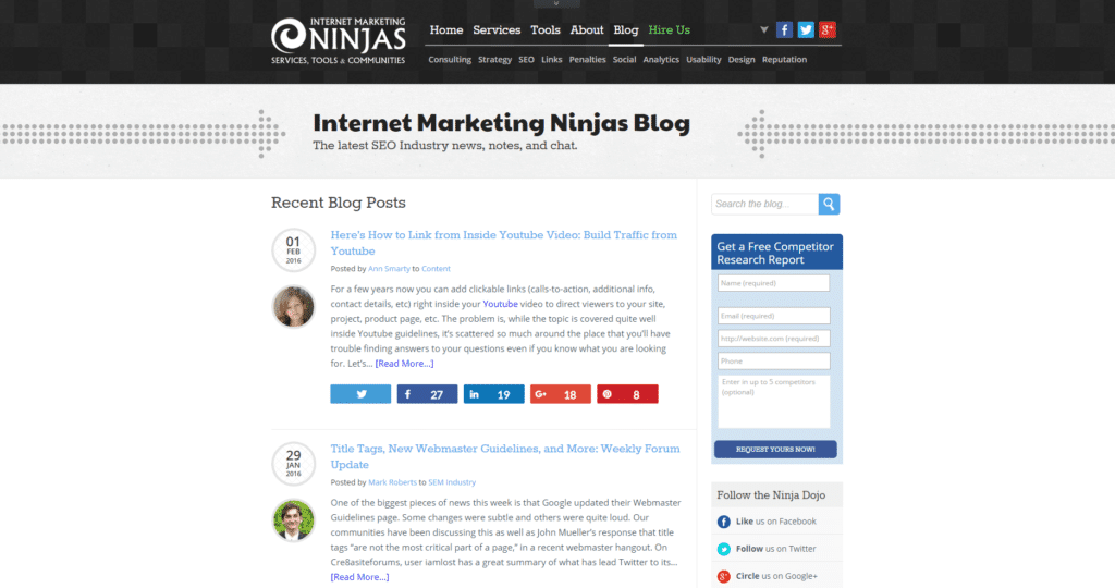 Screenshot Internet Marketing NINJAS Blog