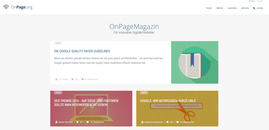 Screenshot OnPageMagazine Blog