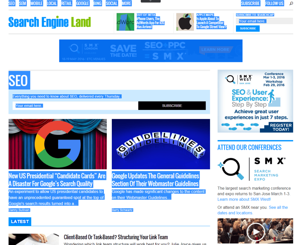 Screenshot Search Engine Land