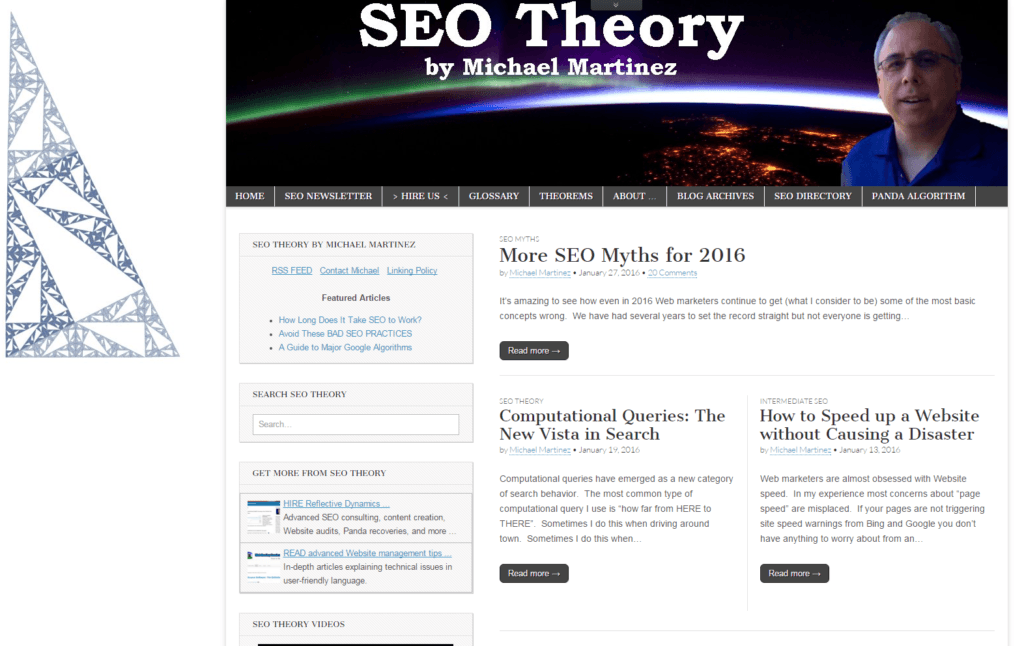 Screenshot Michael Martinez SEO Theory Blog