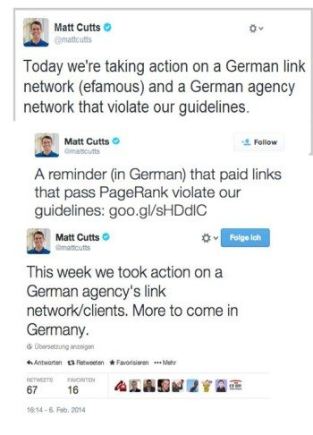 Twitter-PR durch Googles ehemaligen Leiter des Search-Quality-Teams Matt Cutts im Jahr 2014 zur Abstrafung von Linknetzwerken in Deutschland